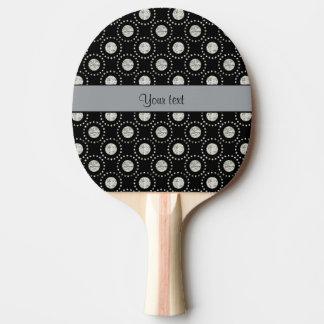 Elegant Silver Polka Dots Black Ping Pong Paddle