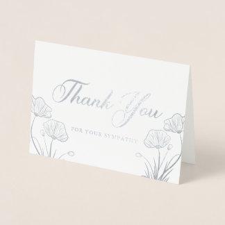 Elegant Silver Poppies Sympathy Thank You Foil Card