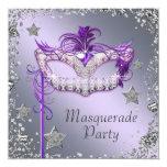 Elegant Silver Purple Masquerade Party 13 Cm X 13 Cm Square Invitation Card