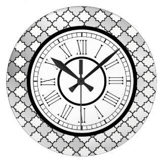 Elegant Silver Quatrefoil Pattern Large Clock