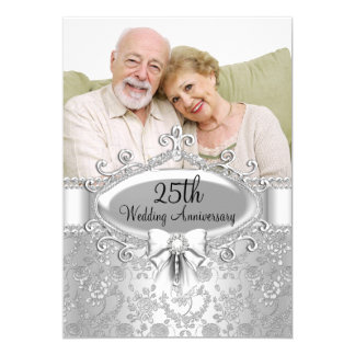 Elegant Silver Rose Photo 25th Anniversary Invite