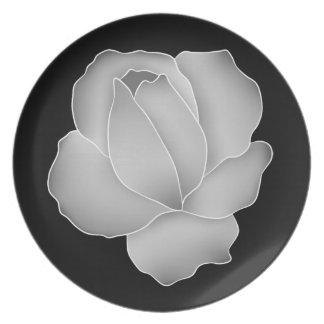 Elegant silver rose plate