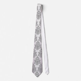 Elegant silver roses damask pattern wedding tie