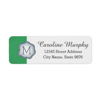 Elegant Silver Stamp Monogram on Emerald Green Return Address Label