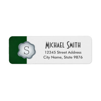 Elegant Silver Stamp Monogram on Forest Green Return Address Label