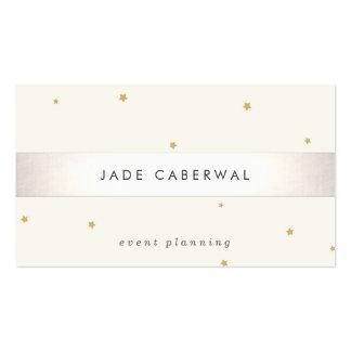 Elegant Silver Striped Gold Star Event Planner Pack Of Standard Business Cards