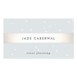 Elegant Silver Striped White Stars Event Planner Pack Of Standard Business Cards