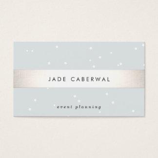 Elegant Silver Striped White Stars Event Planner Business Card