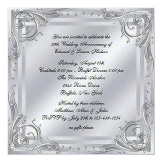 Elegant Silver Swirl 25th Wedding Anniversary Card