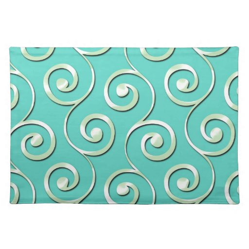 Elegant Silver Swirl Pattern on Teal Background Place Mats