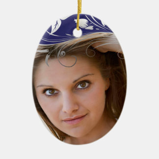 Elegant silver swirl photo graduation ornament