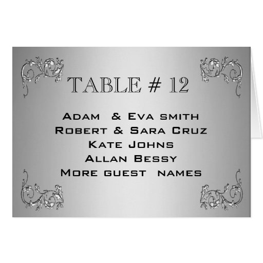 Elegant Silver Table number template wedding Cards