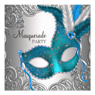 Elegant Silver Teal Blue Masquerade Party 13 Cm X 13 Cm Square Invitation Card