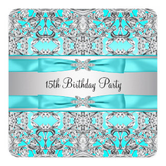 Elegant Silver Teal Blue Quinceanera Card