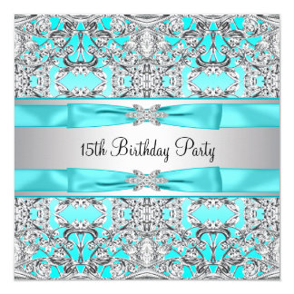 Elegant Silver Teal Blue Quinceanera Custom Invitations