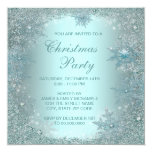 Elegant Silver Teal Blue Snowflake Christmas Party 13 Cm X 13 Cm Square Invitation Card