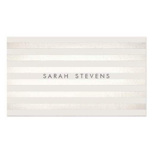 Elegant Silver Thin Off White Striped Salon Spa Business Cards