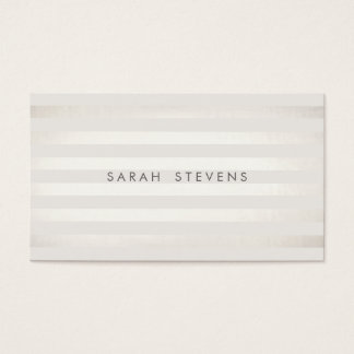 Elegant Silver Thin Off White Striped Salon Spa Business Card