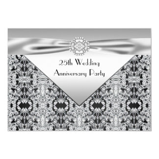 Elegant Silver Wedding Anniversary Party Card