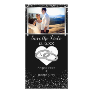 Elegant Silver Wedding Rings | Save the Date Heart Card