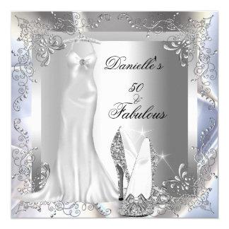 Elegant Silver White High Heel Shoe Fabulous 50 13 Cm X 13 Cm Square Invitation Card