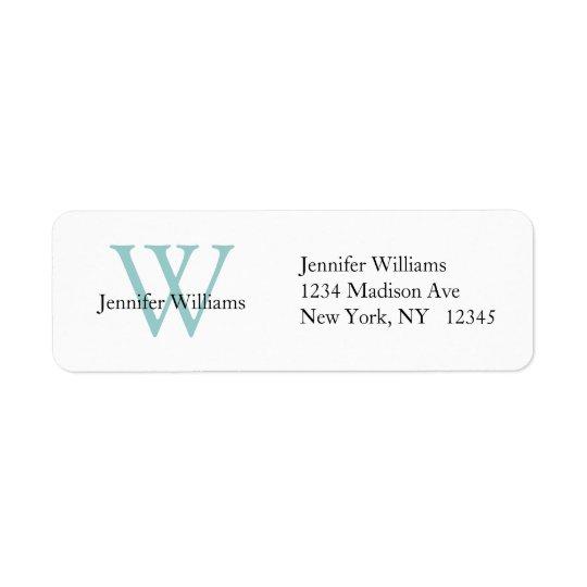 Elegant Simple Address Label White Blue Initial