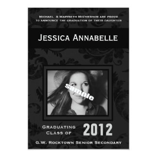 Elegant Simple Black Floral Photo Graduation 13 Cm X 18 Cm Invitation Card