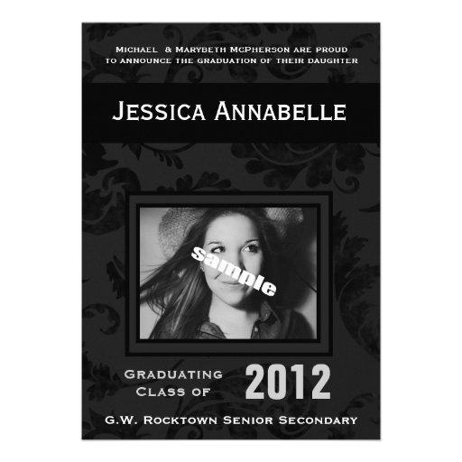 Elegant Simple Black Floral Photo Graduation Invitations
