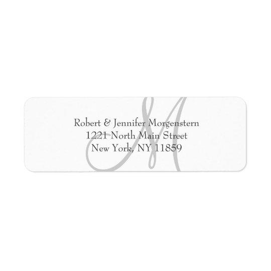 Elegant Simple Black White Grey Monogram Address Return Address Label