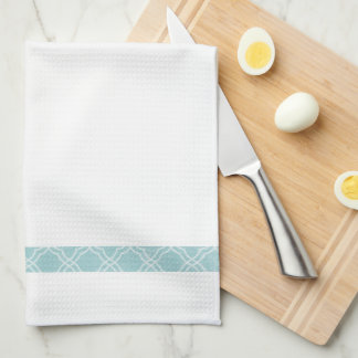 Elegant Simple Blue Border Tea Kitchen Towel