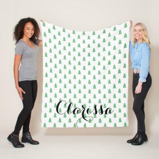 Elegant Simple Christmas tree pattern pastel green Fleece Blanket