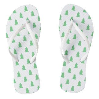 Elegant Simple Christmas tree pattern pastel green Thongs