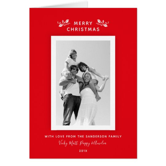 Elegant Simple Classic Red + White Christmas Photo Card