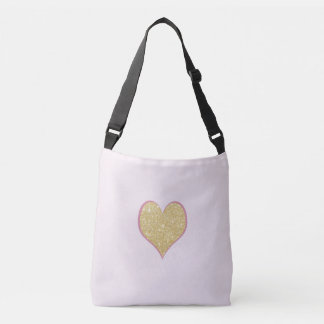 elegant simple clear gold glitter pink heart crossbody bag