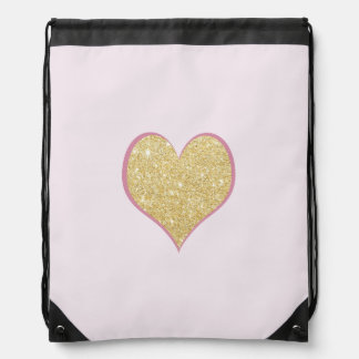 elegant simple clear gold glitter pink heart drawstring bag