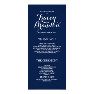 Elegant Simple Custom Wedding Program Full Color Rack Card