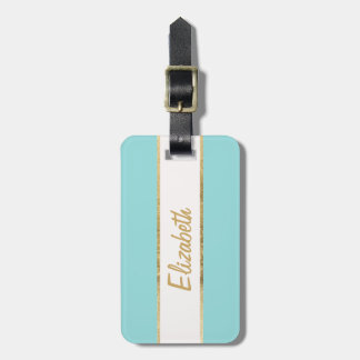 Elegant & Simple Faux Gold and Blue Monogram Luggage Tag