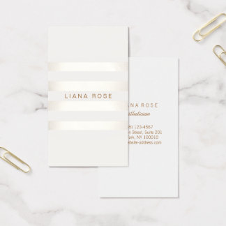 Elegant Simple FAUX Silver and White Striped Business Card