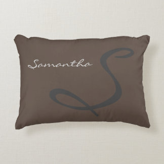 elegant simple modern chic trendy monogram gray decorative cushion