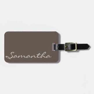 elegant simple modern chic trendy monogram gray luggage tag