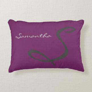 elegant simple modern chic trendy monogram purple decorative cushion