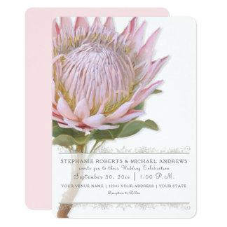 Elegant Simple Modern Floral Pink Protea Flower Card
