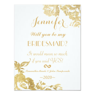 Elegant Simple Modern Rose Floral Gold Faux Print 11 Cm X 14 Cm Invitation Card