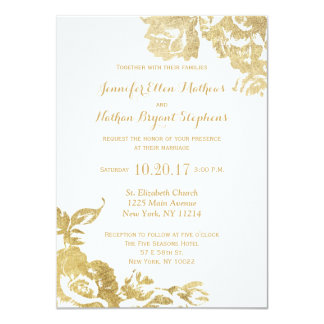 Elegant Simple Modern Rose Floral Gold Faux Print 11 Cm X 16 Cm Invitation Card
