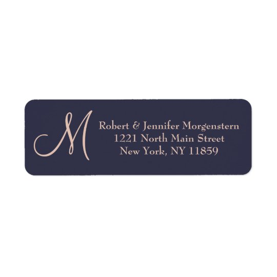 Elegant Simple Navy Blue and Pale Pink Monogram Return Address Label