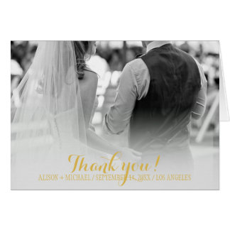Elegant simple photo gold autumn leaves thank you card