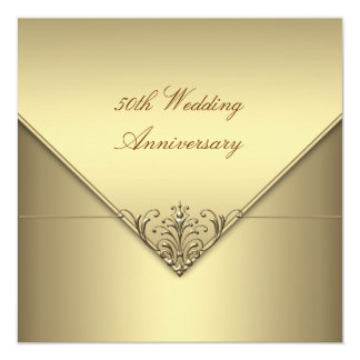 Elegant Simple Pure Gold 50th Wedding Anniversary Card