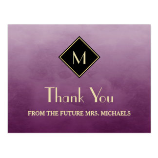 Elegant Simple Purple With Gold Monogram Thank You Postcard