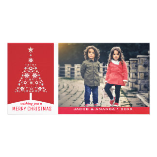 Elegant Simple Red Christmas Tree | Holiday Photo Photo Cards