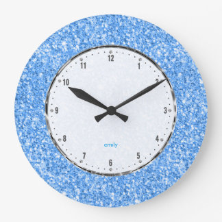 Elegant Simple Sky-Blue Glitter Texture Large Clock